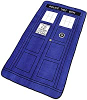 """Doctor Who Blanket - Large Dr. Who TARDIS Micro Raschel Throw - 50"""" x 89"""" by Underground Toys"""