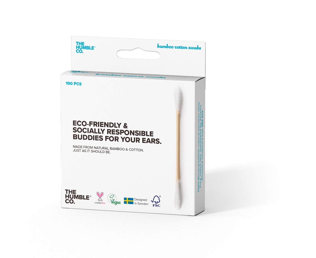 Humble Natural Bamboo Cotton Swab - White - 5 Pack a 100 pcs.