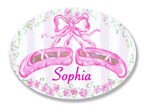 The Kids Room by Stupell Sophia, Pink Ballet Slippers Personalized Oval Wall Plaque