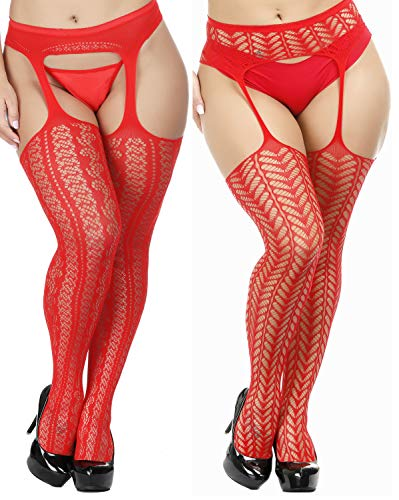 TGD Womens Plus Size Stockings Suspender Pantyhose Fishnet Tights Fashion Thigh High Stocking 2 Pairs (Red 5576) ()