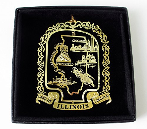 Illinois State Brass Ornament Black Leatherette Gift Box