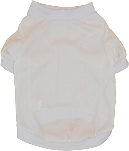 Yuno imaginación DIY acogedor algodón ropa cachorro T-Shirt blanco camiseta de verano para perro de mascota gato blanco: Amazon.es: Productos para mascotas