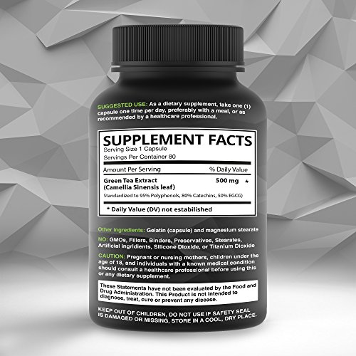 Green Tea Extract Supplement with EGCG - Weight Loss - Boost Metabolism - Healthy Heart - Energy Supplement - Best 100% All Natural Gluten Free Non-Gmo - 1500MG Serving Per Day - 80 Capsules
