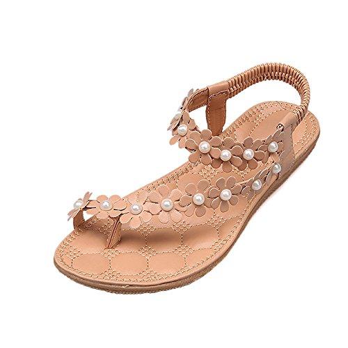 Women's Sweet Summer Bohemia Beaded Sandals Clip Toe Flip-Flop St.Dona Summer Casual Round Toe Flower Thong Sandals Shoes Khaki