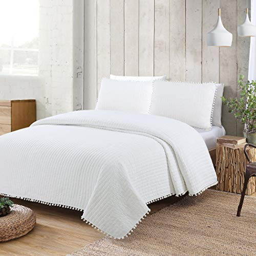 American Home Fashion Estate Collection Costa Brava Pom Pom Quilt Set White Full - Queen 3 Piece