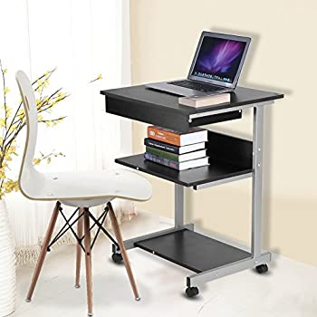 Amazon Com Mobile Computer Desk Portable Modern Wooden