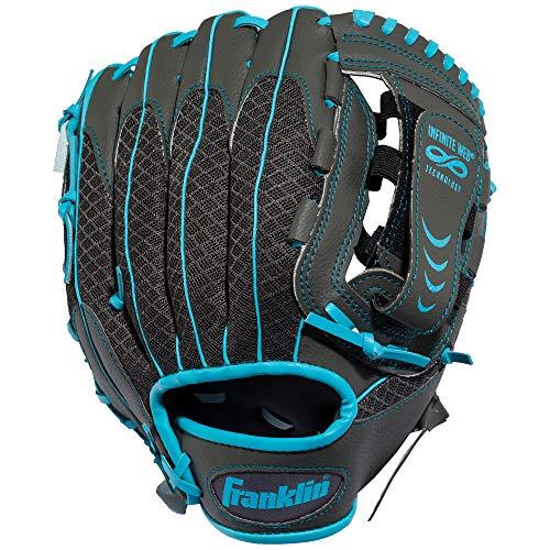 (Franklin Sports Teeball Infinite Web/Shok-Sorb Combo Series Fielding Left Hand Glove, 10.5-Inch, Graphite/Blue)