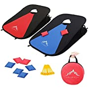 #LightningDeal Himal Collapsible Portable Corn Hole Boards With 8 Cornhole Bean Bags  (3 x 2-feet)