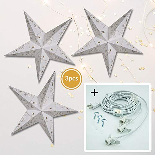 (Luna Bazaar Gold & White Swirl Embroidery 24 Inch Paper Star Lanterns and Lighting - for Home Decor, Parties, and Holiday Decorations)