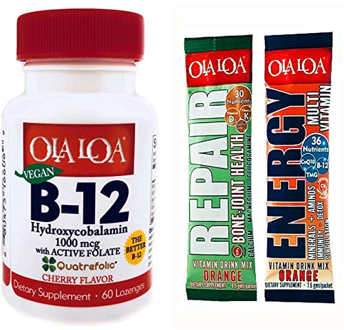 Ola Loa Products Sublingual Hydroxycobalamin B12, 60 Lozenges, Cherry Flavor, with Active Folate Includes 2 Free Sample Packets
