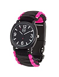 Survival Watch - Paracord Survival Gear / Adjustable Paracord Watch with Fire Starter, Whistle, Compass - Water Proof - Best Survival Gear - 4 Colors (Pink/Black)