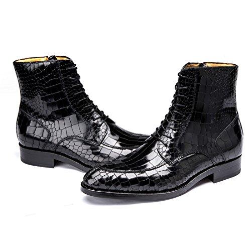 Mens Premium Cowskin Läder Boots Formella Snörning Krokodil Spannmål Tossor 1762 Brun