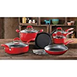 The Pioneer Woman Vintage Speckle 10-Piece Non-Stick Pre-Seasoned Cookware Set (Red)