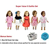 Super Value 5 Outfits plus Shoes American Girl Doll Clothes - 18 inch Doll Accessories Set Fits American Girl Doll, Our Generation, My Life Doll by WEARDOLL