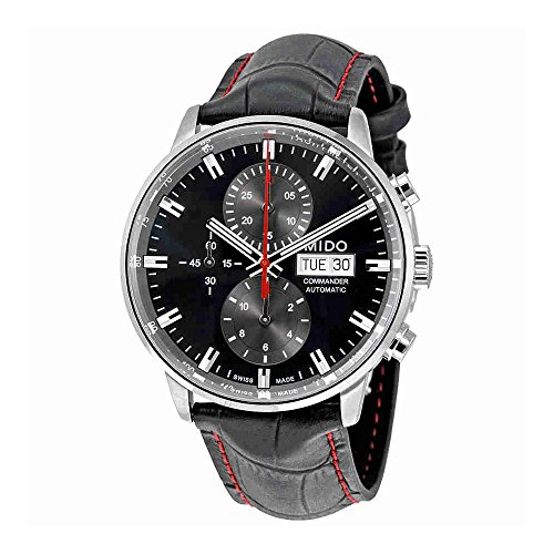 Mido Commander II Black Leather Automatic Watch MD M016.414.16.051.00 (Mens Commander Chronograph Watch)