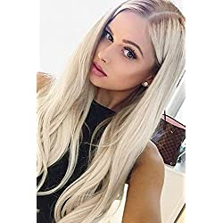 """ALICE Lace Front Blonde Ombre Wig, 24"""" Long Straight Middle Part Synthetic Full Wig Fashion Ash Blonde 2 Tones with Brown Roots for Women"""