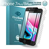 Klearlook Case Friendly Ultra Clear Screen Protector for 5.5-Inch iPhone 7 Plus/iPhone 8 Plus, 1-HD High Transparent Tempered Glass Screen Cover for Front+1-Carbon Fibre Sticker for Back(Black)(2.5D)