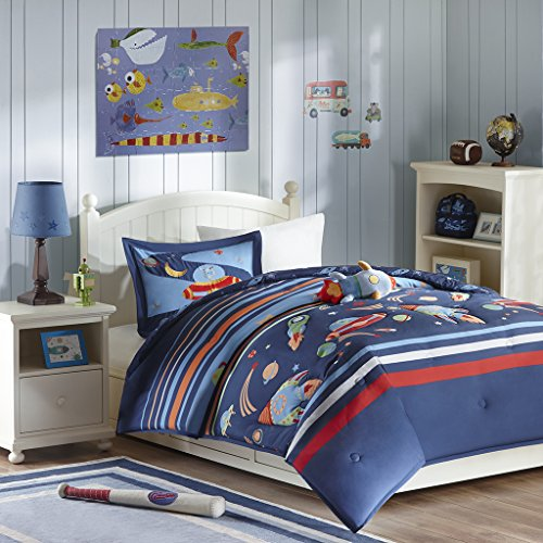 Mizone Kids Space Cadet 3 Piece Comforter Set, Blue, Twin (Space Twin Comforter)