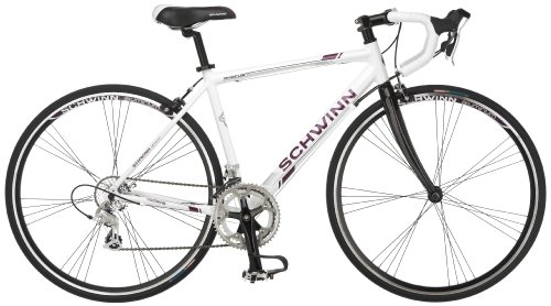 Schwinn Phocus 1600 Drop Bar Road Bicycle for Women, Featuring 41cm/Small Aluminum Step-Through Frame and Carbon Fiber Fork with Shimano 16-Speed Drivetrain and 700c Wheels, White