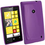 iGadgitz Purple Glossy Durable Crystal Gel Skin (TPU) Case Cover for Nokia Lumia 520 Windows Smartphone Cell Phone + Screen Protector