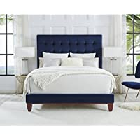 Inspired Home Bond Velvet Button Tufted Platform Bed King Size , Navy