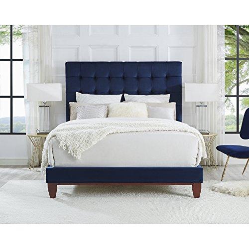 Bond Blue Velvet Platform Bedframe - King Size | Button Tufted | Upholstered | Modern and Contemporary | Inspired Home (Size Bench King)