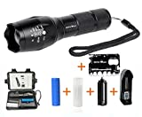 LED Tactical Flashlight - Rechargeable 18650 Lithium Ion Battery & Charger AAA Battery Sleeve 5 Modes Zoomable Water Resistant Torch CREE T6 LED plus bonus Multi-purpose Pocket Tool