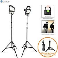 """LimoStudio [Set of 2] Portable Wireless 30W LED Spotlight Flood Lighting Kit with 17 Table Top Accent Light Stand, 86"""" Light Stand Tripod, and Rechargeable Battery for Photo Video Studio, AGG2727"""