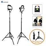 "LimoStudio [Set of 2] Portable Wireless 30W LED Spotlight Flood Lighting Kit with 17'' Table Top Accent Light Stand, 86"" Light Stand Tripod, and Rechargeable Battery for Photo Video Studio, AGG2727"