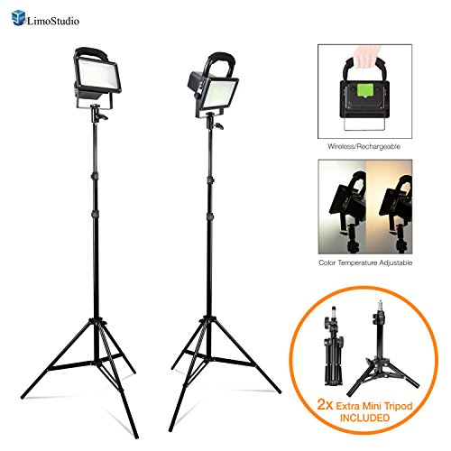 "LimoStudio [Set of 2] Portable Wireless 30W LED Spotlight Flood Lighting Kit with 17'' Table Top Accent Light Stand, 86"" Light Stand Tripod, and Rechargeable Battery for Photo Video Studio, AGG2727 by LimoStudio"