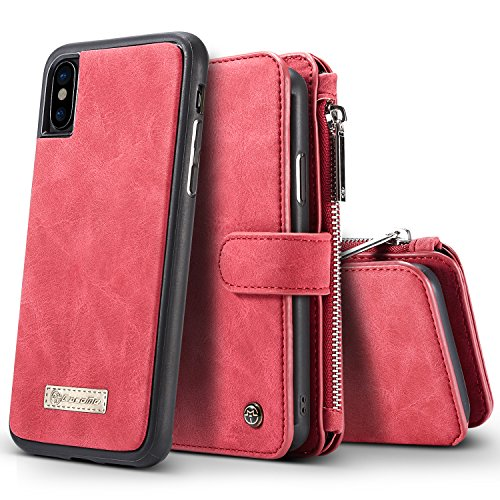 iPhone X Case, BELK Detachable 2 in 1 Magnetic Zipper Wallet [Large Capacity] Multi-functional Flip Case with 14 Card Slots and Removable Slim TPU Back Cover for Apple iPhone X