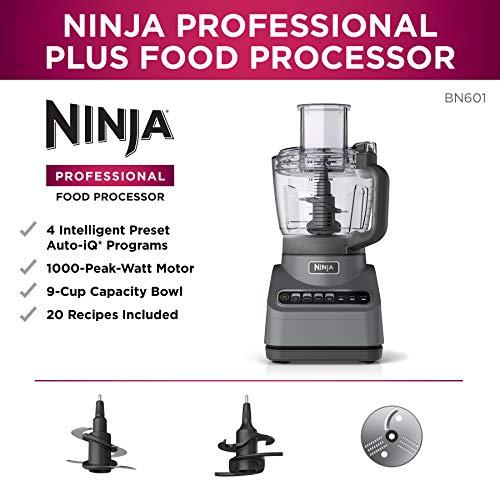 Ninja BN601 Professional Plus Food Processor 1000-Peak-Watts with Auto-iQ Preset Programs Chop Puree Dough Slice Shred… Salted Salad