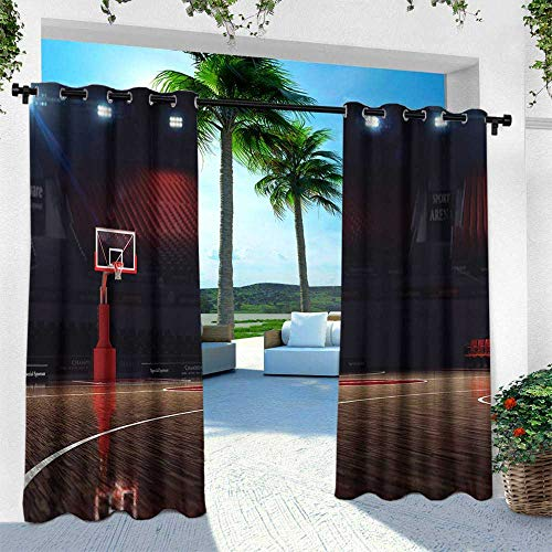 - Hengshu Basketball, Outdoor- Free Standing Outdoor Privacy Curtain,Picture of Empty Basketball Court Sport Arena with Wood Floor Print, W120 x L108 Inch, Brown Black and Red