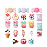 Pandahall 50 PCS Mixed Color Candy & Cake Resin Cabochons for Craft Making