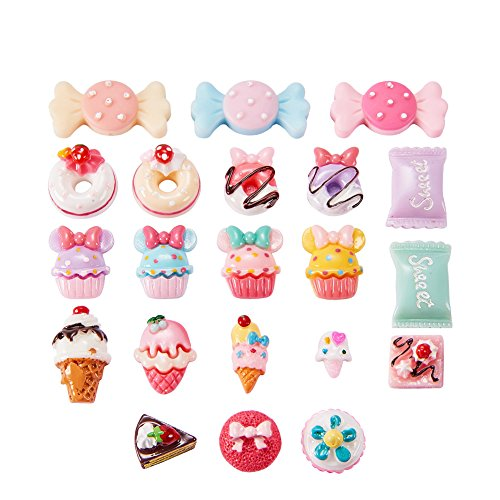 Pandahall 50 PCS Mixed Color Candy & Cake Resin Cabochons for Craft Making]()