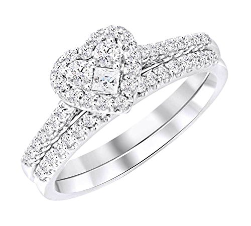 Princess Hearts Diamond (Princess & Round Cut White Natural Diamond Heart Bridal Ring Set In 10k White Gold (0.4 cttw) Ring Size-7)