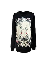 Jiayiqi Womens Funny Printing Black Pullover Art Pattern Loose Long Sweatshirt
