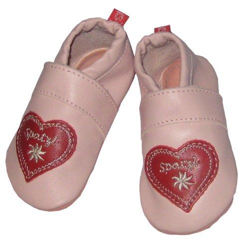 Tapis d'éveil Chaussures Spatzl (lernschuh, cuir puschen) couleur rose, Semelle en cuir Taille M (20/21) de Course par Anna et Paul