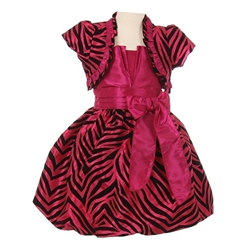 - Big Girls Fuchsia Zebra Stripe Ribbon Tie Bolero Taffeta Christmas Dress 10