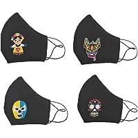 """BY MEXICO Cubrebocas lavables negros con 4 diferentes parches de mascara de luchador""""shishitas"""", Muñeca Juanita, Xolo…"""