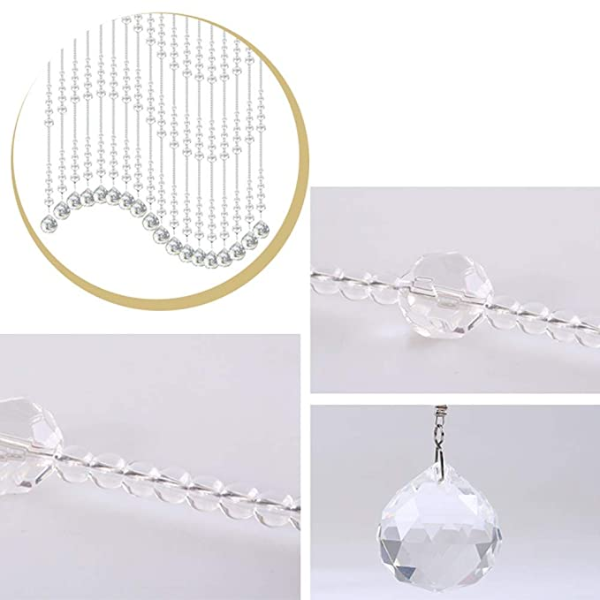 Junda 10 Meters ABS Crystal Clear Beads String for Chandelier Curtains for Doorways Wedding DIY Party Decor