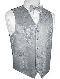 Men's Formal, Wedding, Prom, Tuxedo Vest & Bow-Tie Set In Silver Paisley