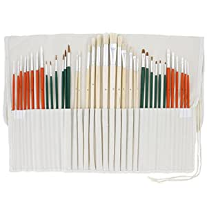 US Art Supply 36 Piece Artist Long Handle Assorted Natural and Nylon Hair Brush Set with Cotton Canvas Storage Wrap Pouch Holder