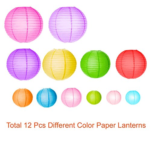 Paxcoo 12 Pack Paper Lanterns with Assorted Colors and Sizes by PAXCOO (Image #1)