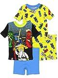 LEGO Ninjago Boy's 4 Piece Cotton Pajamas Set (8, Multi)