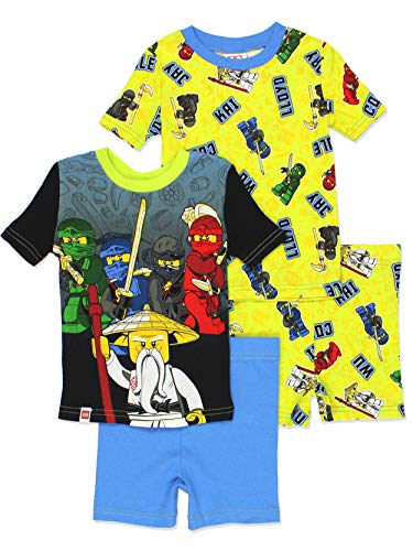 LEGO Ninjago Boy's 4 Piece Cotton Pajamas Set (4, Multi) -