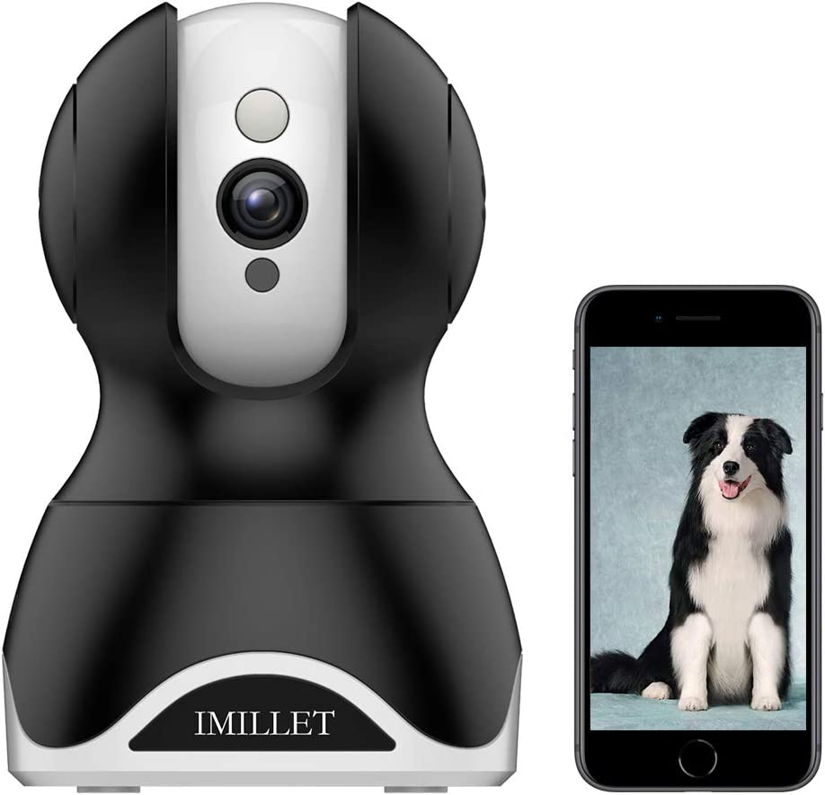 IMILLET WiFi Pet Camera Dog Camera with Phone App FHD Indoor Cat Camera Pet Monitor Night Vision 2 Way Audio Motion Detection (Black)