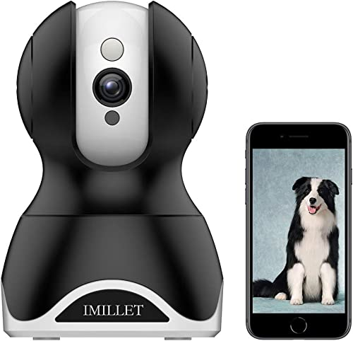 IMILLET WiFi Pet Camera Dog Camera with Phone App FHD Indoor Cat Camera Pet Monitor Night Vision 2 Way Audio Motion Detection Black
