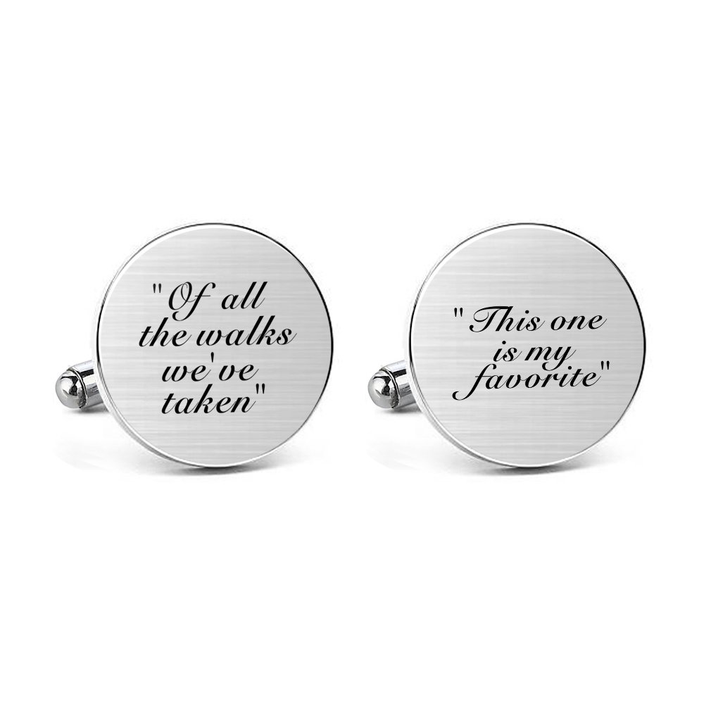 MUEEU Father Wedding Cufflinks Engraved of all the Walks We Have Take Round Cuff link Tie Clip