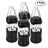 LED Camping Lantern - Portable Outdoor LED Camping Lantern ,Latest Technology , black, Waterproof Collapsible,Suitable for field, basement warehouse, hurricane, night fishing, power off(4 pack)